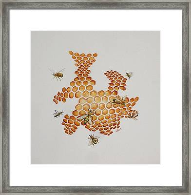 Framed Print featuring the painting Bee Hive # 1 by Katherine Young-Beck