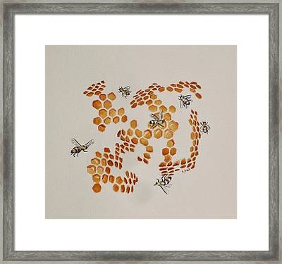 Framed Print featuring the painting Bee Hive # 3 by Katherine Young-Beck