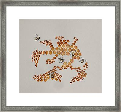 Framed Print featuring the painting Bee Hive # 4 by Katherine Young-Beck