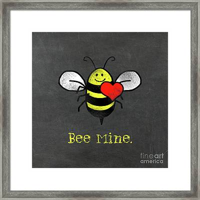 Bee Mine Cute Bee With Heart For Valentines Day Framed Print