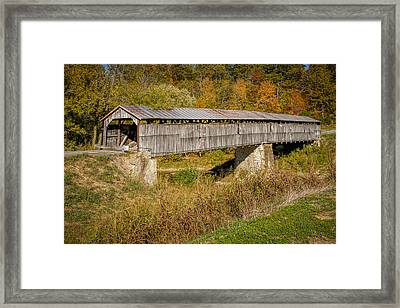 Beech Fork Or Mooresville Covered Bridge Framed Print