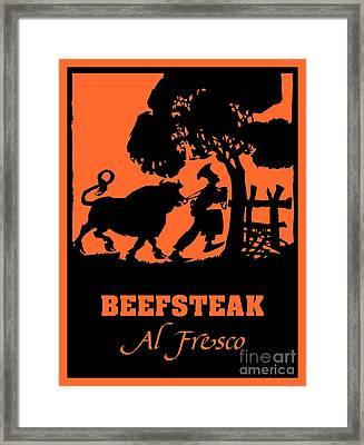 Beefsteak Al Fresco, Silhouette Art Framed Print by Heidi De Leeuw