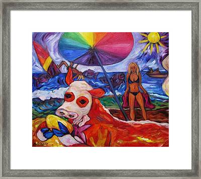 Beefy Eats Burga At The Beach Framed Print