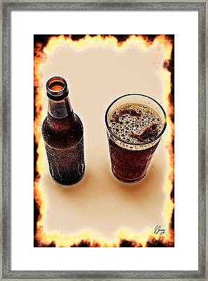 Beer And Beer Glass Top View Framed Print by Joshua Zaring