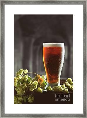 Beer And Hops On Barrel Framed Print