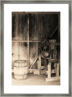 Beer Barrel And Corn Husker Framed Print by Dennis Nelson