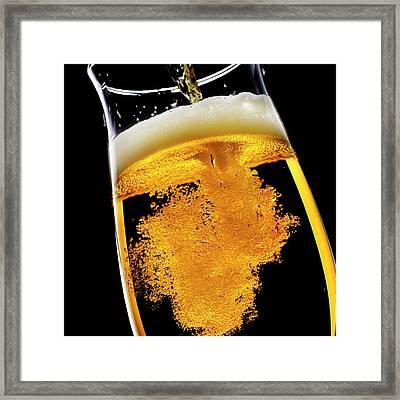 Beer Been Poured Into Glass, Studio Shot Framed Print