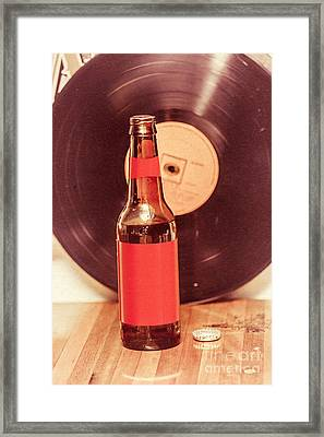 Beer Bottle On Bar Counter Top With Vinyl Record Framed Print