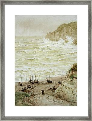 Beer Cove In A Storm Framed Print by Frank Dadd