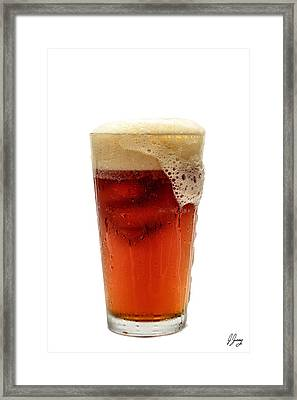 Beer Foaming Over Glass Framed Print by Joshua Zaring