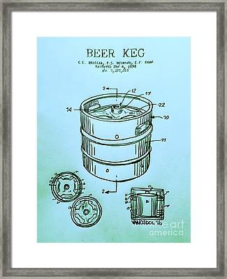 Beer Keg 1994 Patent - Blue Framed Print by Scott D Van Osdol