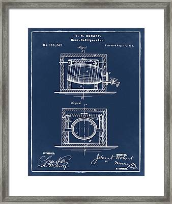 Beer Keg Refridgerator 1875 In Blue  Framed Print by Bill Cannon