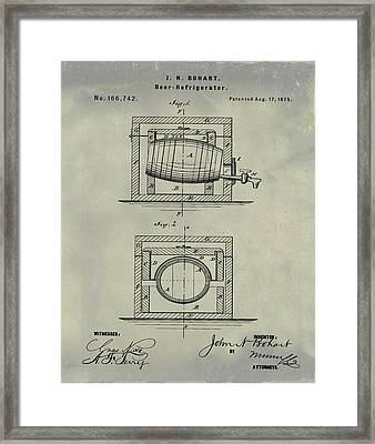 Beer Keg Refridgerator 1875 In Weathered Framed Print by Bill Cannon