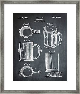 Beer Mug Patent 1951 In Chalk Framed Print by Bill Cannon