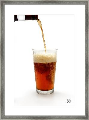 Beer Pouring Into Glass Framed Print by Joshua Zaring