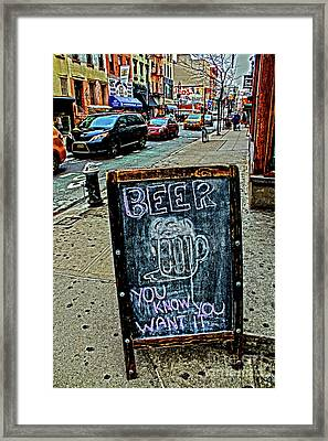 Beer Sign Framed Print