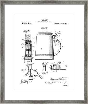 Beer Stein Patent 1914 Framed Print by Bill Cannon