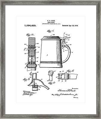 Beer Stein Patent 1914 Framed Print