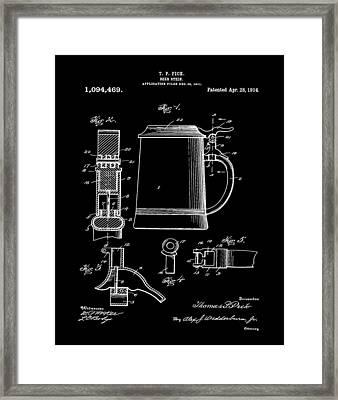 Beer Stein Patent 1914 In Black Framed Print