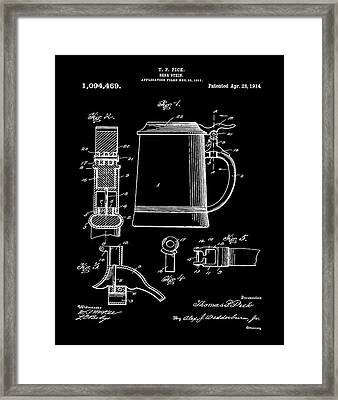 Beer Stein Patent 1914 In Black Framed Print by Bill Cannon