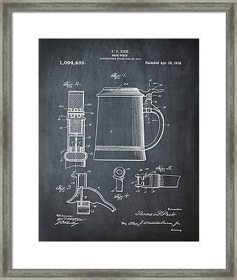 Beer Stein Patent 1914 In Blue Chalk Framed Print by Bill Cannon
