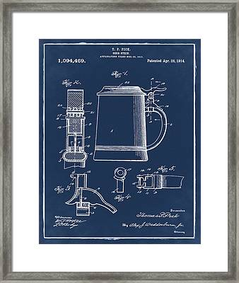 Beer Stein Patent 1914 In Blue Framed Print by Bill Cannon