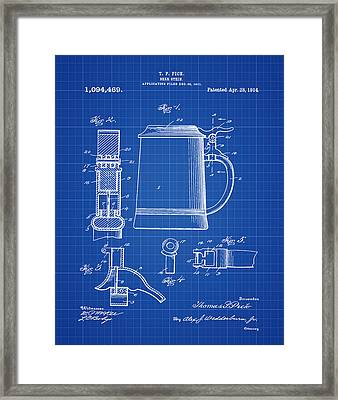 Beer Stein Patent 1914 In Blue Print Framed Print by Bill Cannon