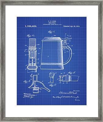 Beer Stein Patent 1914 In Blue Print Framed Print
