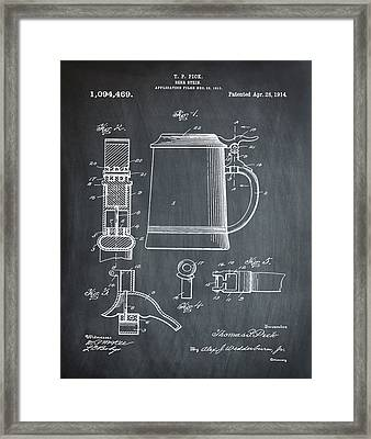 Beer Stein Patent 1914 In Chalk Framed Print by Bill Cannon