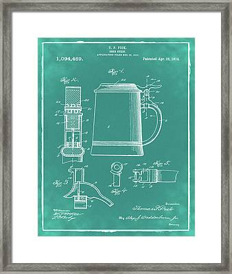 Beer Stein Patent 1914 In Green Framed Print by Bill Cannon