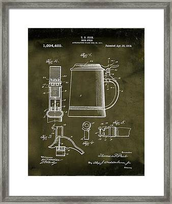 Beer Stein Patent 1914 In Grunge Framed Print by Bill Cannon