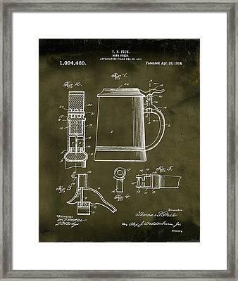 Beer Stein Patent 1914 In Grunge Framed Print