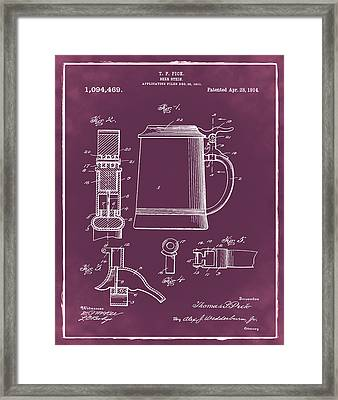 Beer Stein Patent 1914 In Red Framed Print