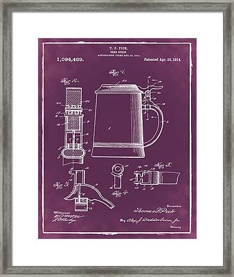 Beer Stein Patent 1914 In Red Framed Print by Bill Cannon