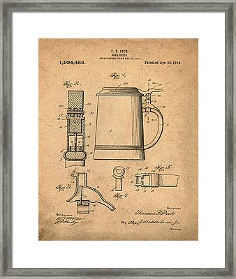 Beer Stein Patent 1914 In Sepia Framed Print