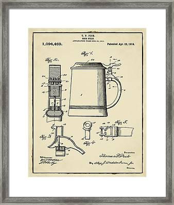 Beer Stein Patent 1914 In Sepia Framed Print by Bill Cannon