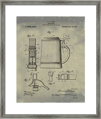 Beer Stein Patent 1914 In Weathered Framed Print