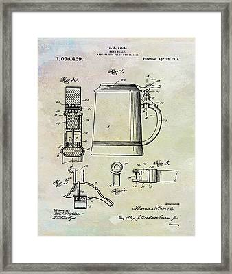 Beer Stein Patent 1914 In Weathered Framed Print by Bill Cannon