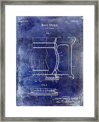 Beer Stein Patent Blue Framed Print by Jon Neidert
