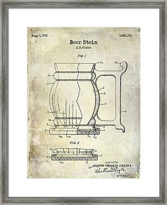 Beer Stein Patent Framed Print by Jon Neidert