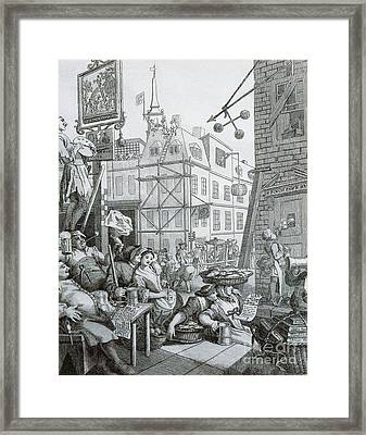 Beer Street In London Framed Print by William Hogarth