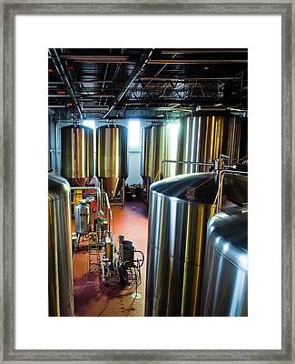 Framed Print featuring the photograph Beer Vats by Linda Unger