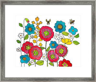 Bees And Flowers Framed Print by Blenda Studio