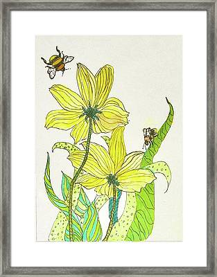 Bees And Flowers Framed Print