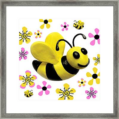 Bees And Flowers Square Framed Print by Amy Vangsgard