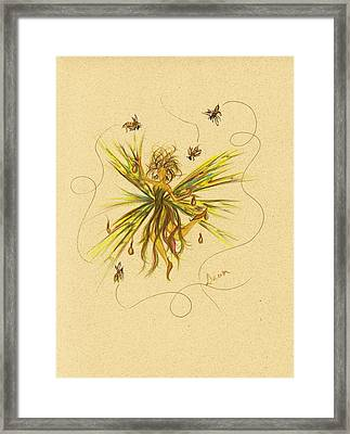Framed Print featuring the drawing Bees To Honey by Dawn Fairies