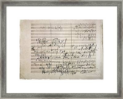 Beethoven Manuscript Framed Print by Granger