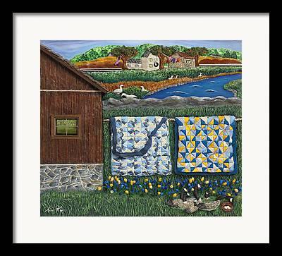 New England Barns Mixed Media Framed Prints
