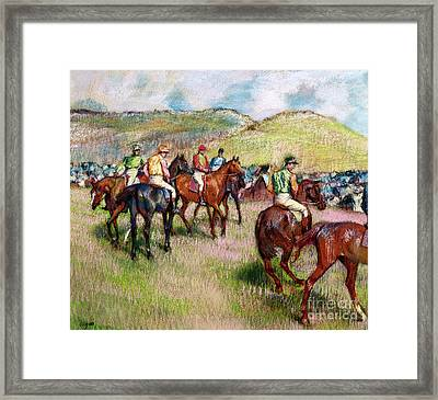 Before The Race Framed Print by Edgar Degas