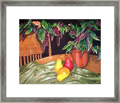 Begonias And Pears Framed Print by Dorothy Riley